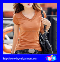Factory direct wholesale women blank t shirt v-neck t shirts