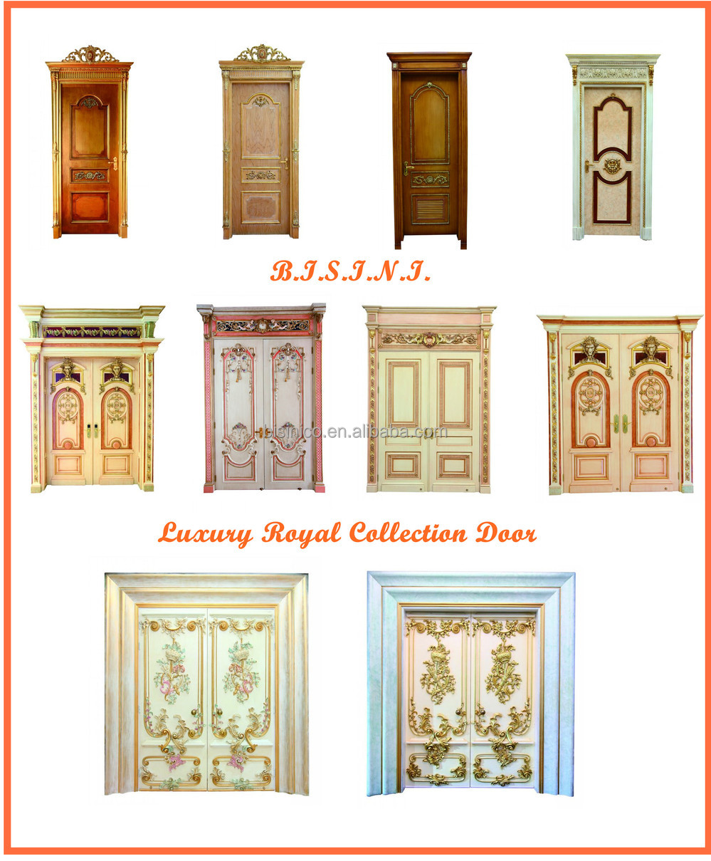French Baroque Style Gold Leaf Double Interior Door/Antique Solid Wood Hand  Carved Villa Front
