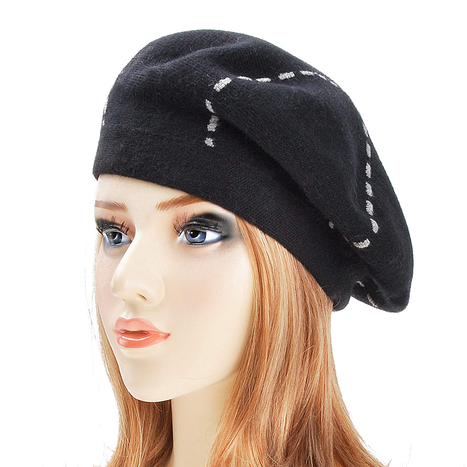 9b1ffd684cf Get Quotations · ZLYC Womens Reversible Cashmere Beret Hat Double Layers French  Beret