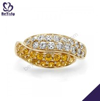 2015 beauty four rows cz set yellow gold gemstone rings