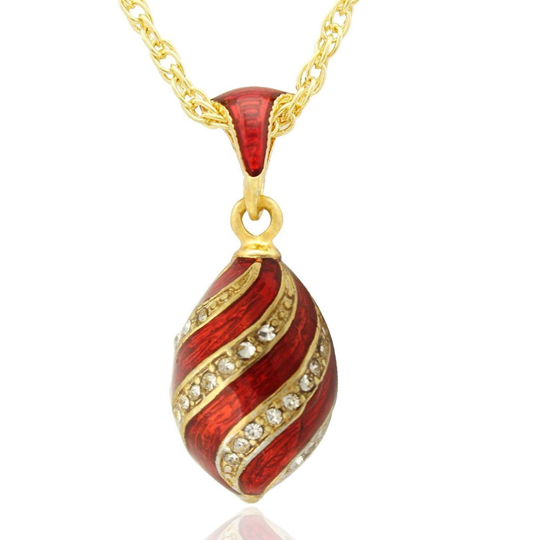 MYD Jewelry Transparent Color Enamel Crystal Faberge Egg Easter Egg Pendant Necklace