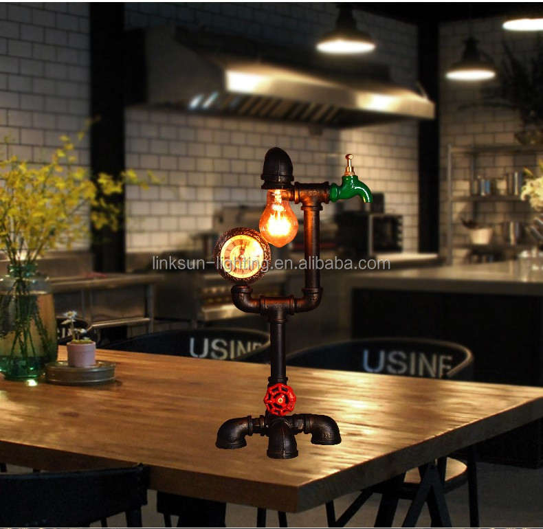 Iron Water Pipe Personalized Table Lamp Antique Vintage Water ...