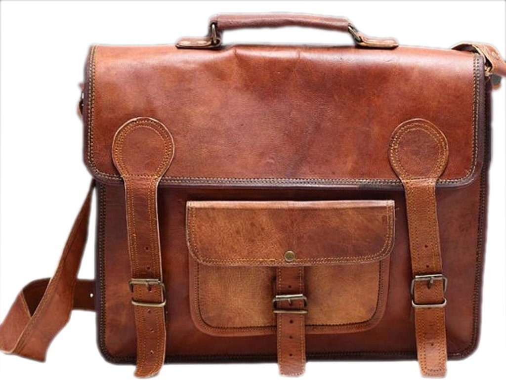 """Phoenix Craft 16"""" Leather Messenger Bag Laptop Office Macbook Briefcase Rugged Bag 16X12X5 Inches Brown …"""