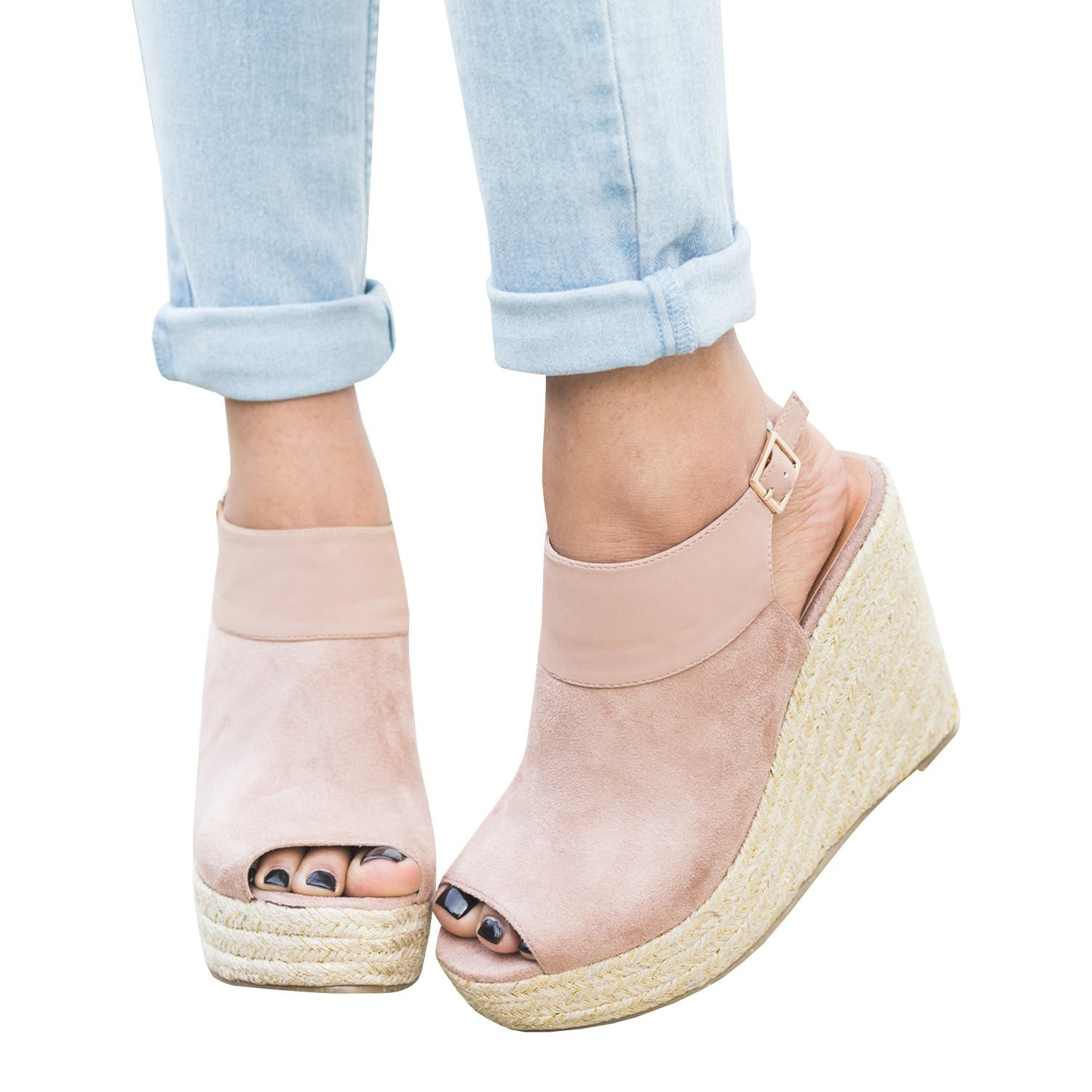06cf948bb011d Get Quotations · Womens Wedges Strappy Sandal Closed Toe Ankle Warp  Espadrilles Heel Sandalias