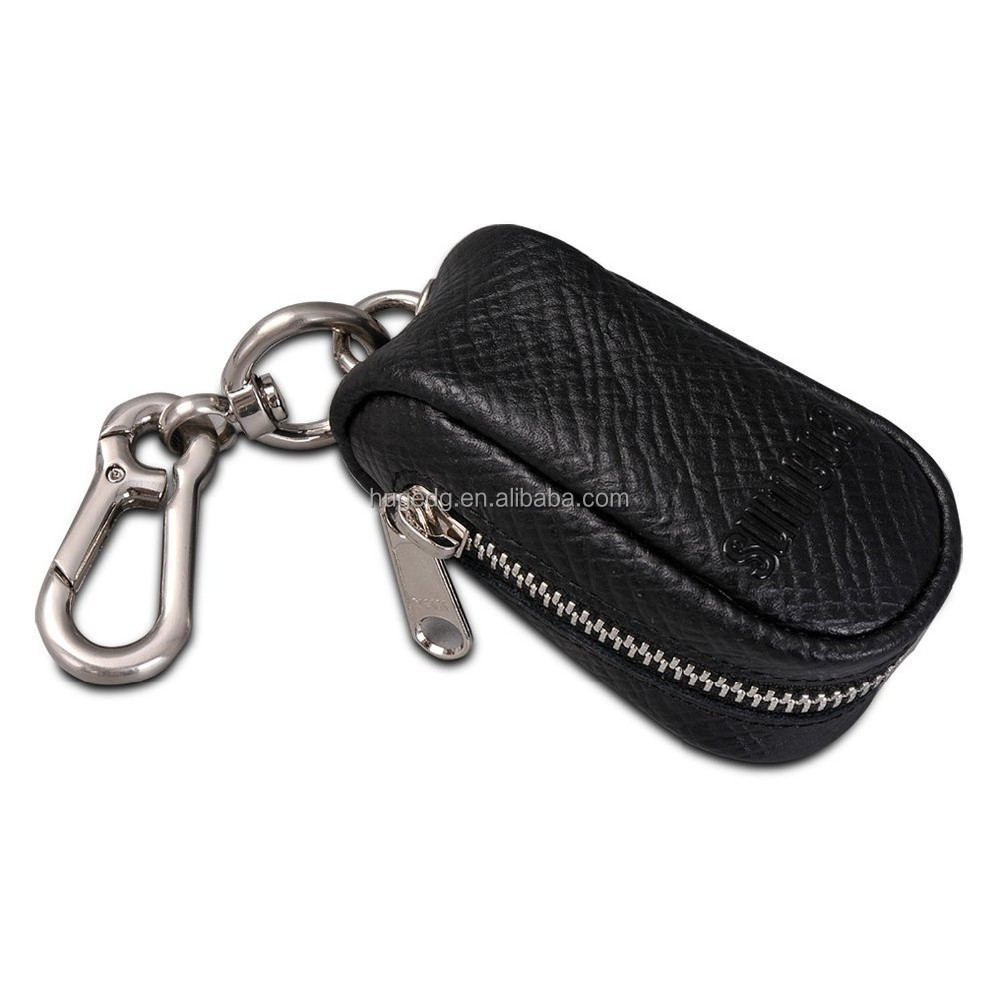 Popular utility practical leather car key case with zip