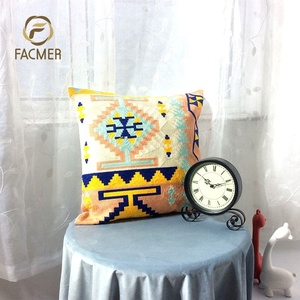 [Free Shipping] Fancy Nordic Geometric Sofa Navy Blue and White Full Crewel Embroidery Cushion Cover