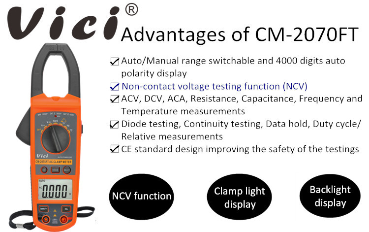 Standard Manual Auto Range Digital Clamp Multimeter Tester LCD Voltage Meter