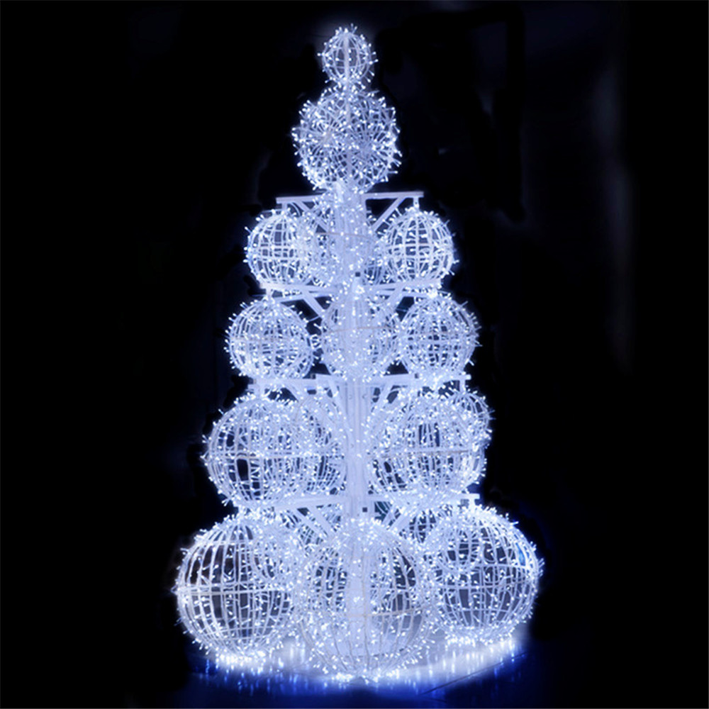 Large Cool White Tree Ball String Light