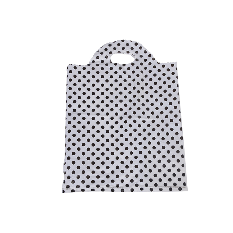 Black and white spot soft loop handle plastic bag