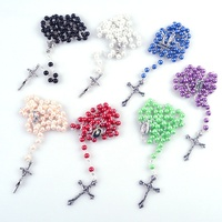 Classic religious round glass pearl bead jewelry holy prayer rosary chalice centerpiece cheap Catholic Rosaries with pope cross