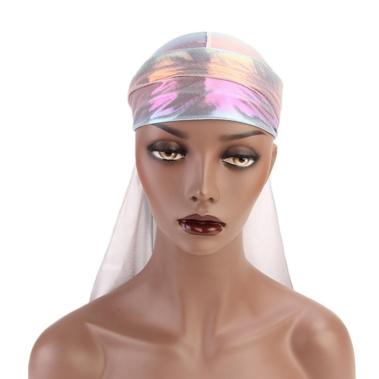 Top Selling Designer Durags Turban Hair Wrap Colorful Glitter Polyester Durag Holographic ...