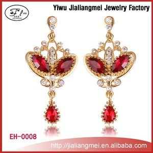 New Product 2015 Fashion Women Vintage Red Bridal Earrings