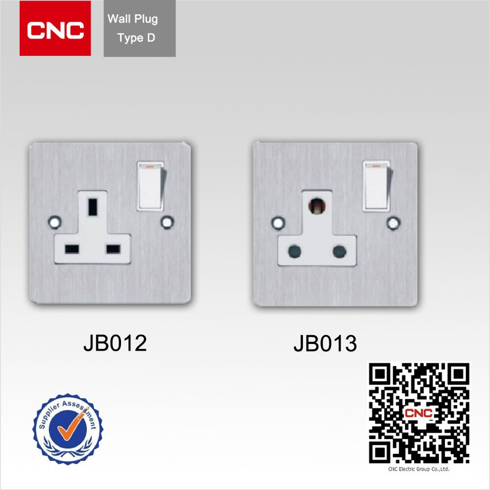 China Metal Wire Drawing 1gang 3pin Wall Switch And Socket