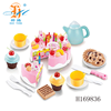 New product shantou toys H169836 preschool high tea set plastic cake kids kitchen set toy