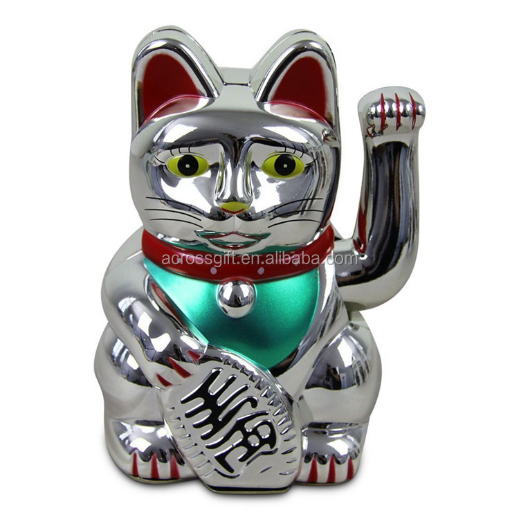 Personalized Handmade Color Glazed Ceramic Sivler Maneki Neko Waving Lucky Cat