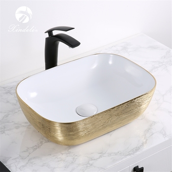 Xdl D1302h130 New Product Rectangle White Electroplate Gold Countertop Basin Coloured Bathroom Basins