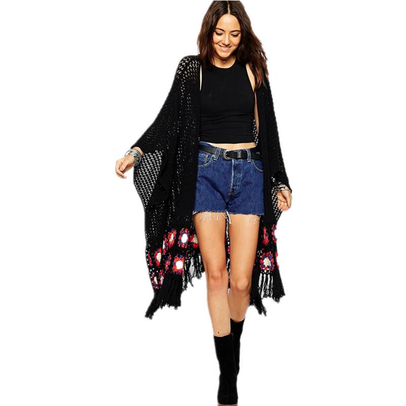 black women long cardigans tassels floral bohemian women knitted coat kimono maglioni donna. Black Bedroom Furniture Sets. Home Design Ideas