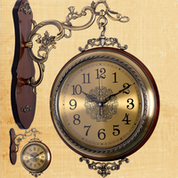Wholesale cheap antique handmade wooden decorative metal wall clock