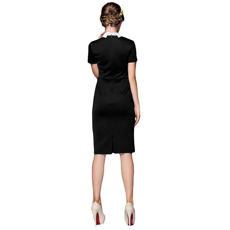 2015 летний стиль женщины рабочая одежда офис карандаш платья 60 s ретро питер пэн воротник платье оболочки черном платье с белым воротником
