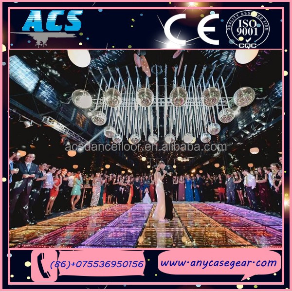 ACS 50x50cm Remote Control 3D Space Effect Infinite 84pcs Lamp Mirror Dance fllor