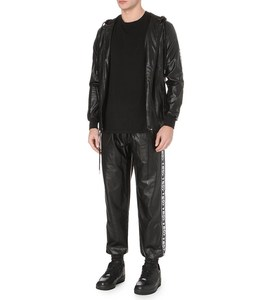 black loose mens leather trousers