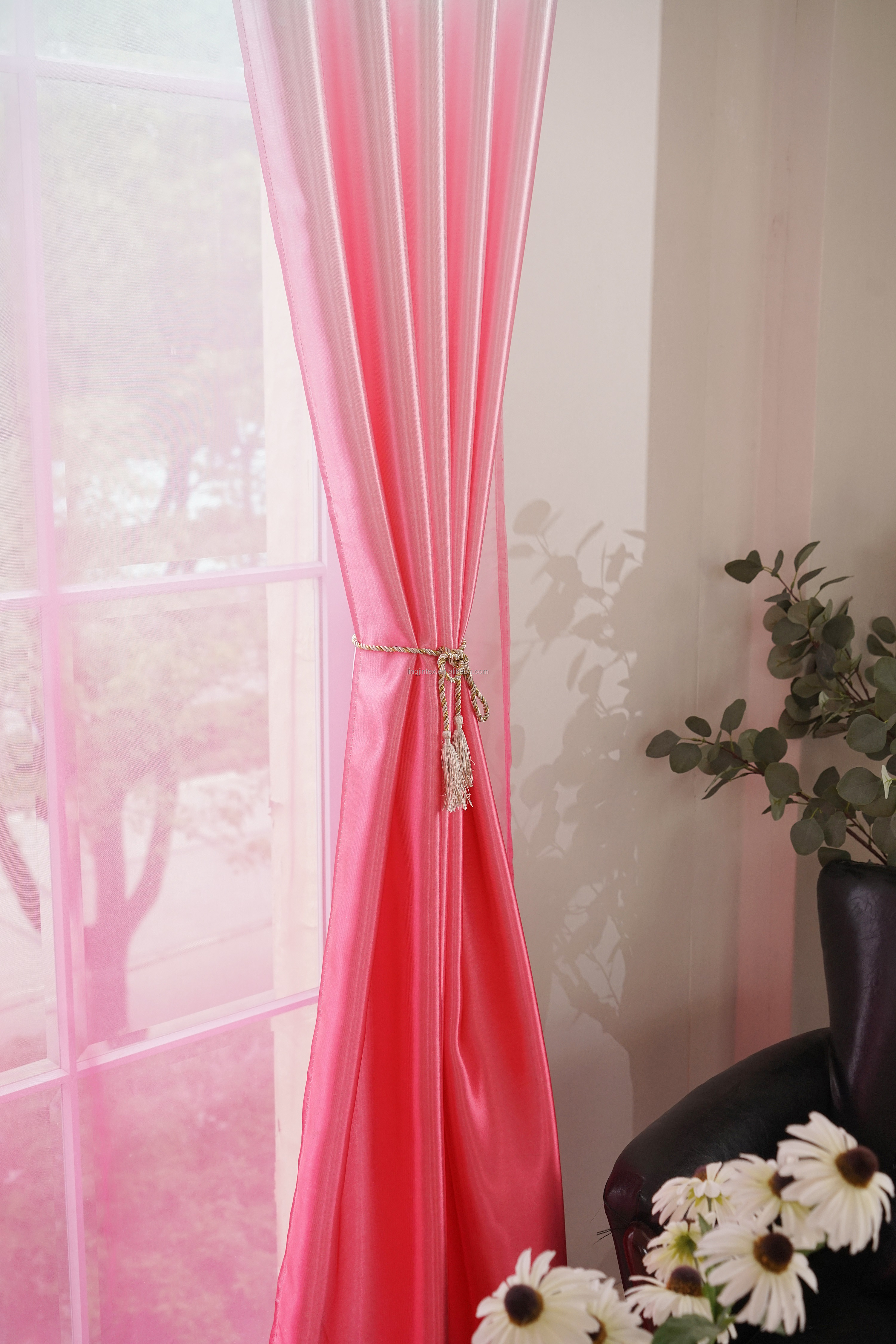 Luxury pink ombre air sheer window ready made curtain set