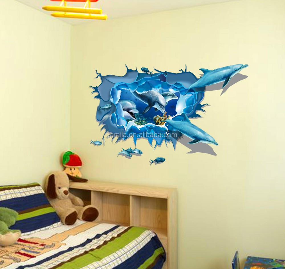3d Window Wall Stickers Underwater World Dolphin Quote Wall Decals ...