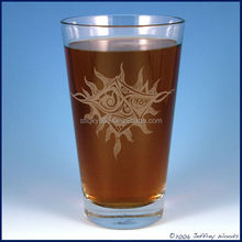 New design pint glass cups frosted logo made in China glass cups drinking beer frosted logo frosted pint glass