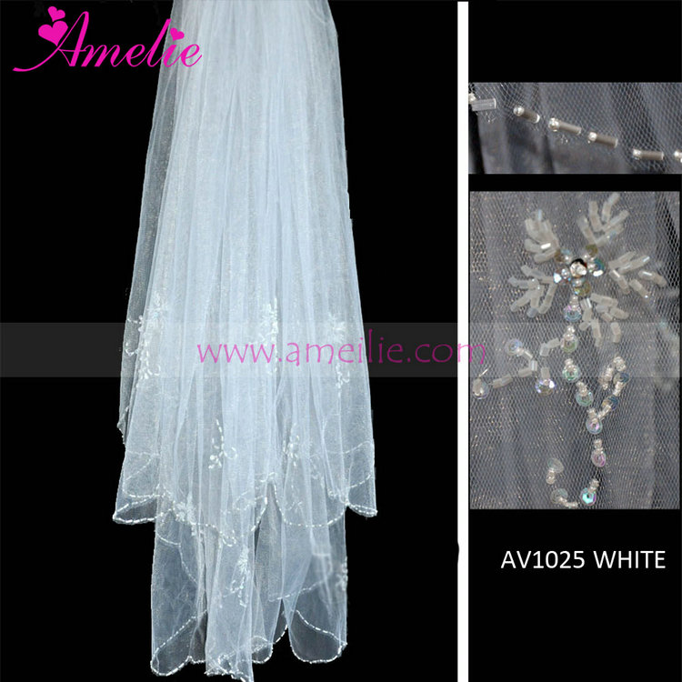 Beaded And Crystal Frill Wedding Bridal Veil For Short Hair ...