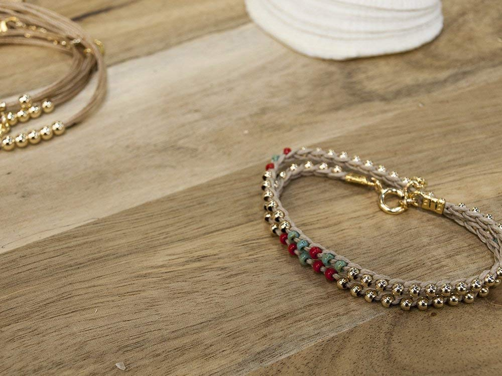 Women's Wrap Beaded Bracelet In Natural Colors Of Turquoise Beige Gold And Red, Handmade Stackable Boho Chic Jewelry
