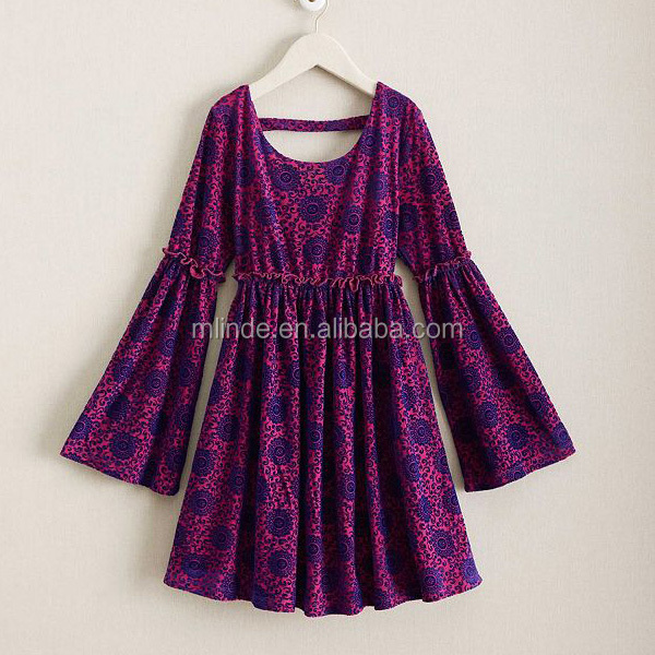 Wholesale Children Swim Beach Clothes Kids Floral Paisley Print Velevet Design Cut Out Bell Sleeves Vintage Girls Boho Dress