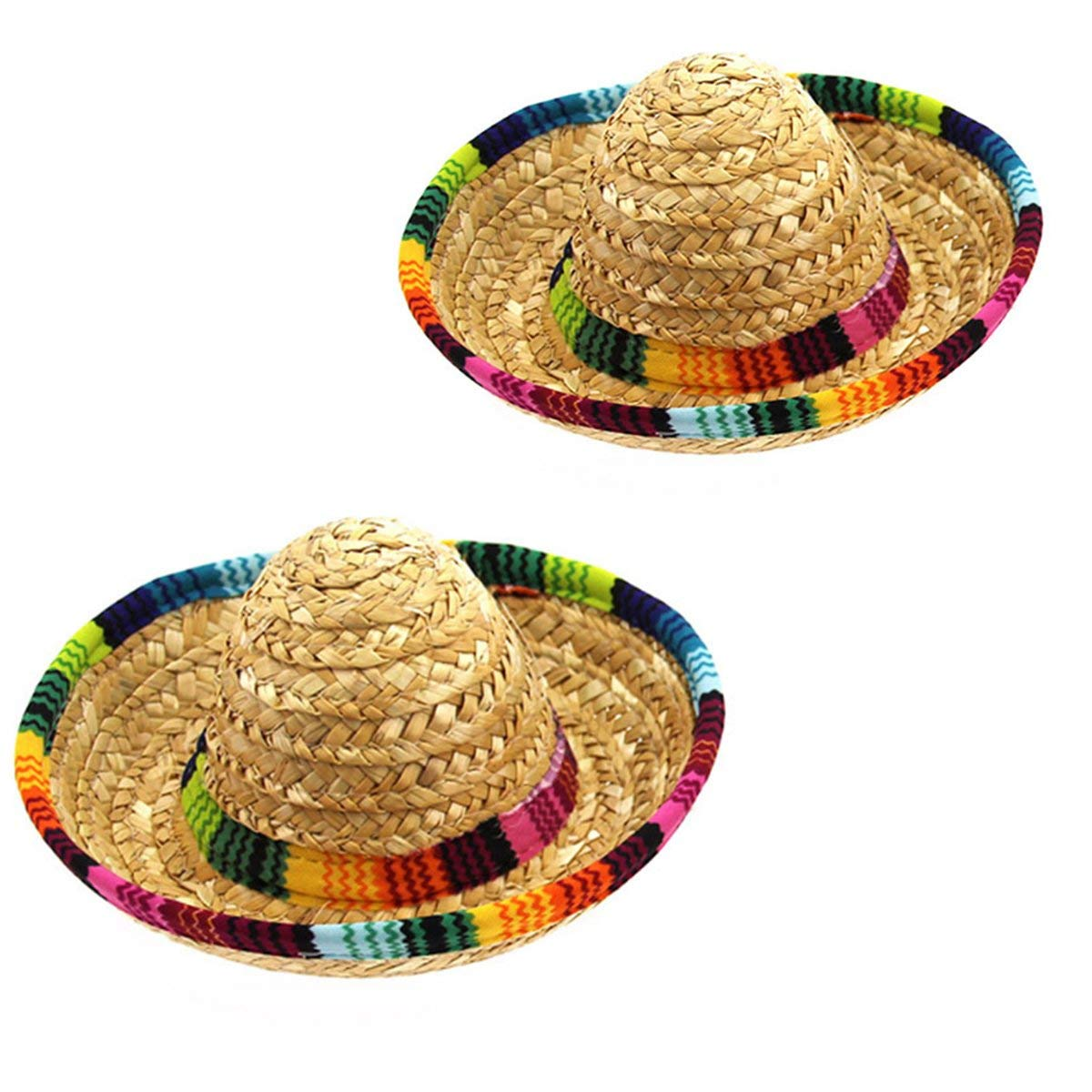 2 Pack colorful Straw Hat, Hat Flanging, Home Furnishing Decoration, Mini Sombrero Top Hat Headband Fiesta Party Supplies