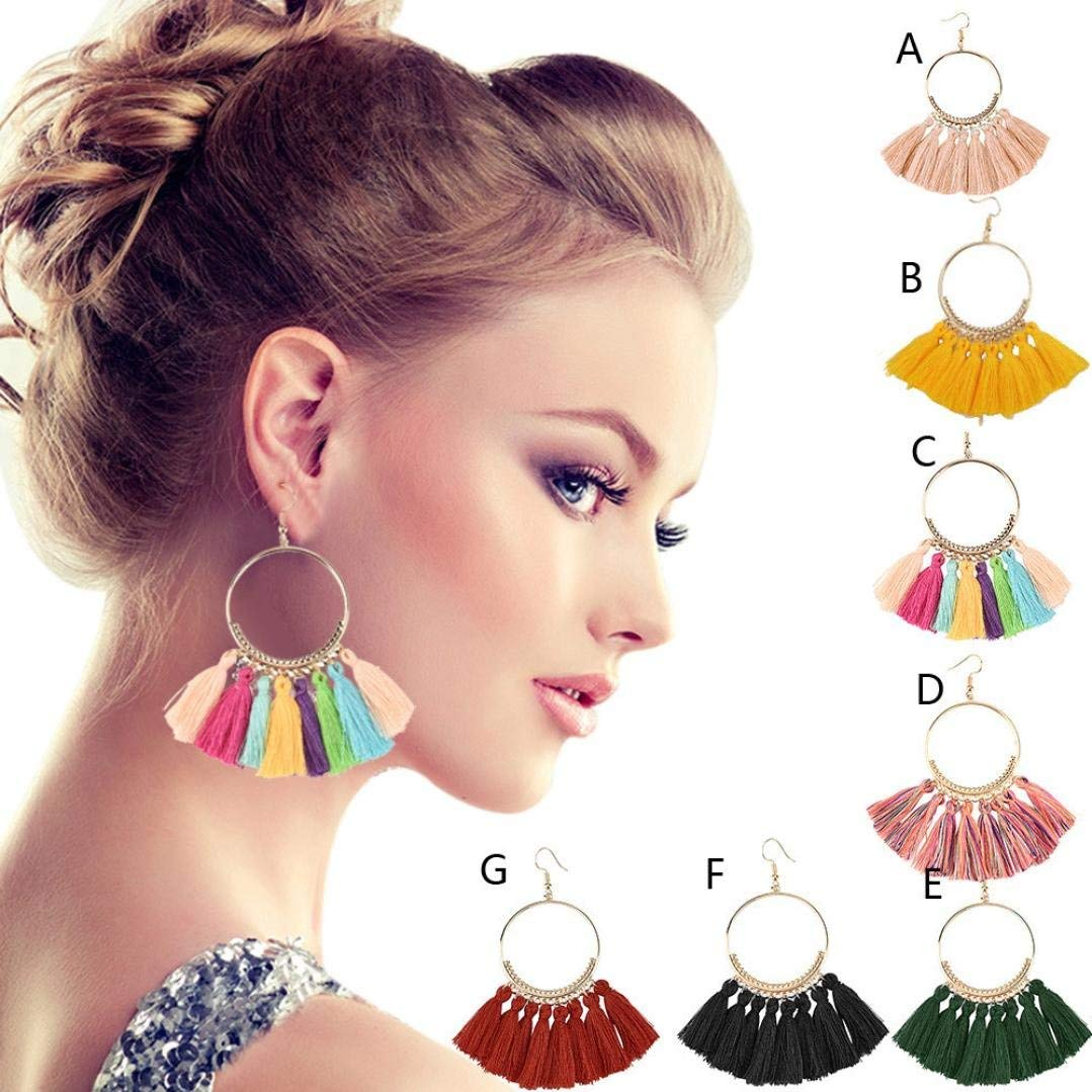 Women's Tassel Dangle Earrings, Clearance! Iuhan Bohemian Fan Shape Long Tassel Earrings Hoop Dangle Ear Drop Soriee (C)