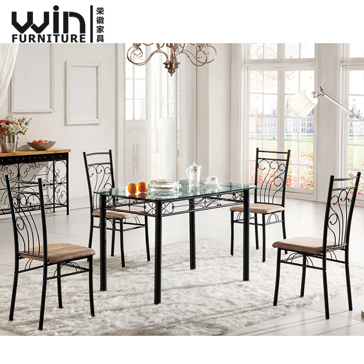 Modern Glass Top 6 Seater Dining Table Tempered Glass Table Set