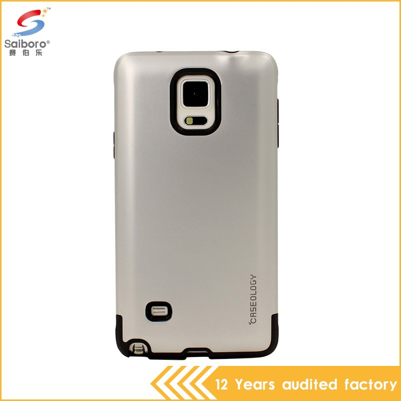 Perfect design silver color shockproof hybrid armor mobile phone case for Samsung Galaxy note4