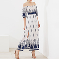 Omate print smocked waist off shoulder side slit fashion long dress