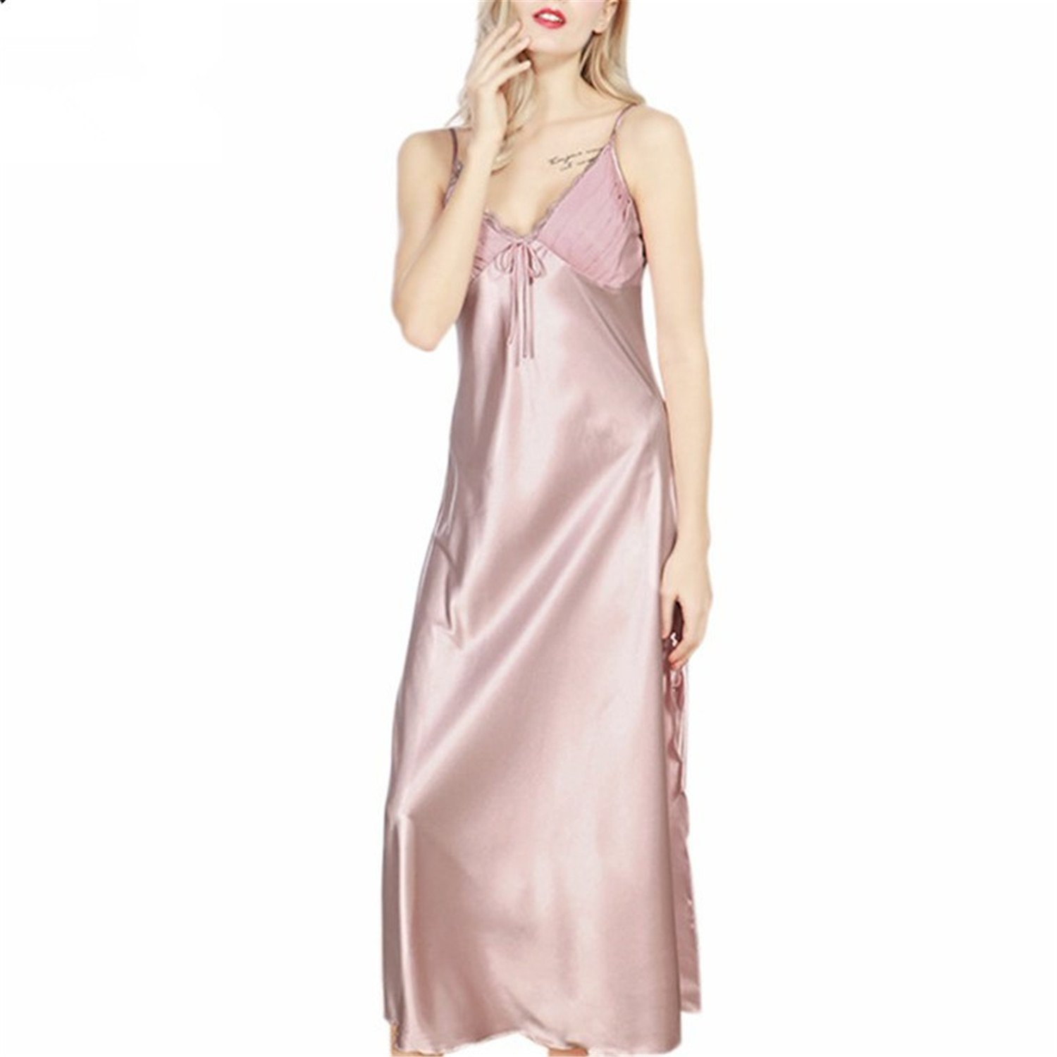 70aae43806 Get Quotations · Klemsomava Long Nightgowns Women New Ladies Faux Silk  Split Long Dressing Gowns Summer Sexy Woman Lace