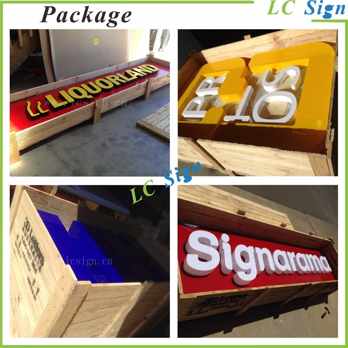 Acrylic Push Thru Led Light Box Sign For Store Front Sign And