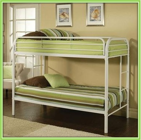 Double-deck bed with shelves. Bottom: queen-sized, top: single