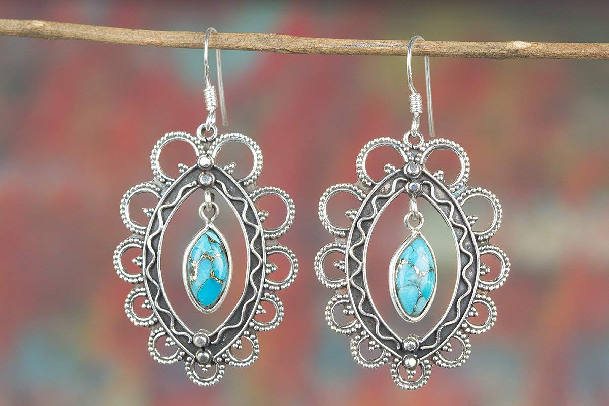 Blue Turquoise Earring, 925 Sterling Silver, Antique Earring, Floral Shape Earring, Healing Earring, Exquisite Design Earring, Marquise Shape Earring, Peaceful Earring, Classy Earrings, Petite Earring