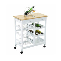 Kitchen Island Portable Rolling Storage Trolley Cart