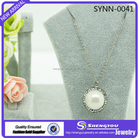 Latest Arrival Jewelry Sliver Color Fine Chain With Pearl Shaped Natural Stone Pendant Necklace Wholesale