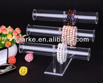 Hot Ing Clear Acrylic Bangles Display Holder 3 Tier Bracelet Stand