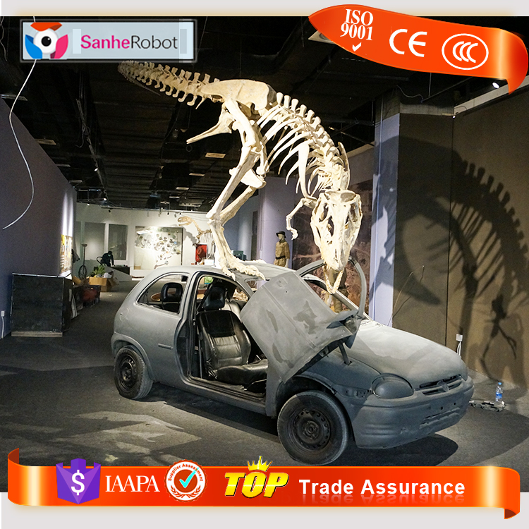 Latest Sanhe Robot Lifelike Replica Fossil Display, crazy pop up stand skeleton