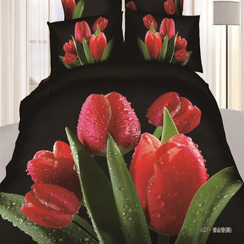 Alibaba Hot Selling Printed 3D Tulip Flower Design Knitted Bed Sheets