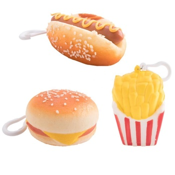 Hot sale custom 3D hamburger squeeze keychain