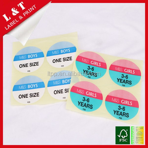 Size sticker label for kids clothing