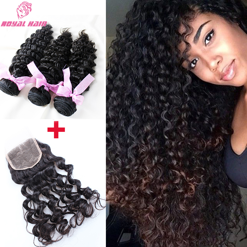 3 Bundles with closure Brazilian Deep Wave With Closure 7a Brazilian virgin hair with closure human