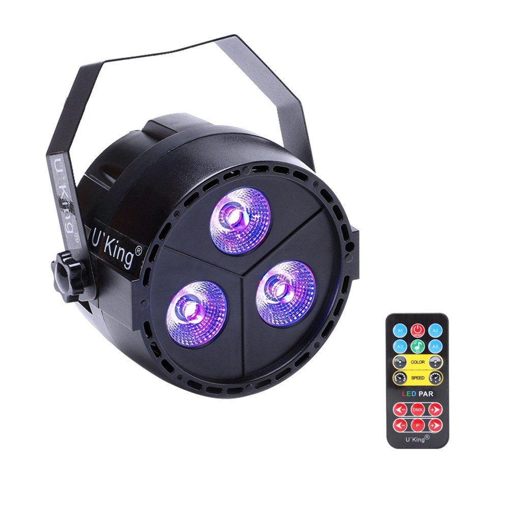 U`King Par Lights with 3LEDs x 4-Watts RGBP by IR Remote and DMX Control for Stage Lighting