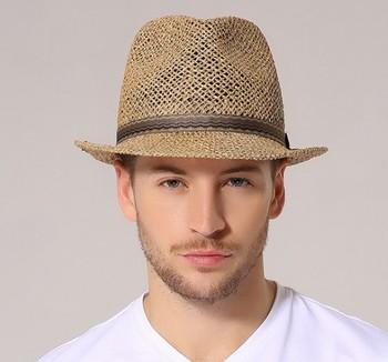 Индивидуальный логотип печать бумаги соломенная шляпа от солнца для мужчин  и женщин Панама пляжные шляпы для 145d3dc6ada